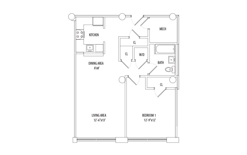 1 Bedroom - 1 bedroom floorplan layout with 1 bath and 783 square feet (1st floor 2D)