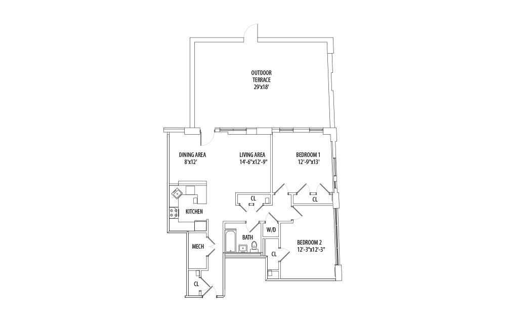 2 Bedroom w/ Private Patio - 2 bedroom floorplan layout with 1 bath and 1070 square feet (1st floor 2D)