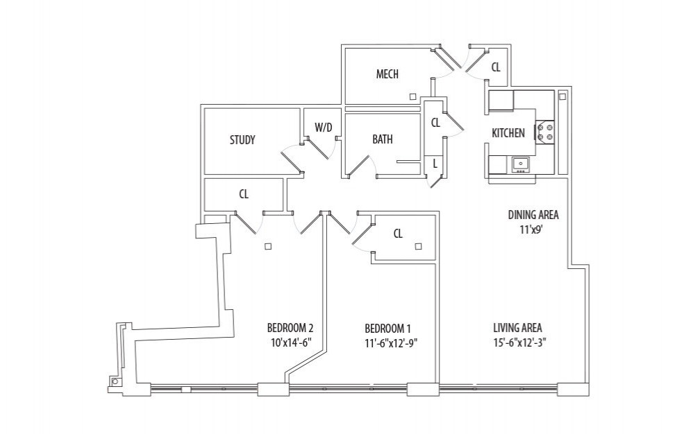 2 Bedroom w/ Den