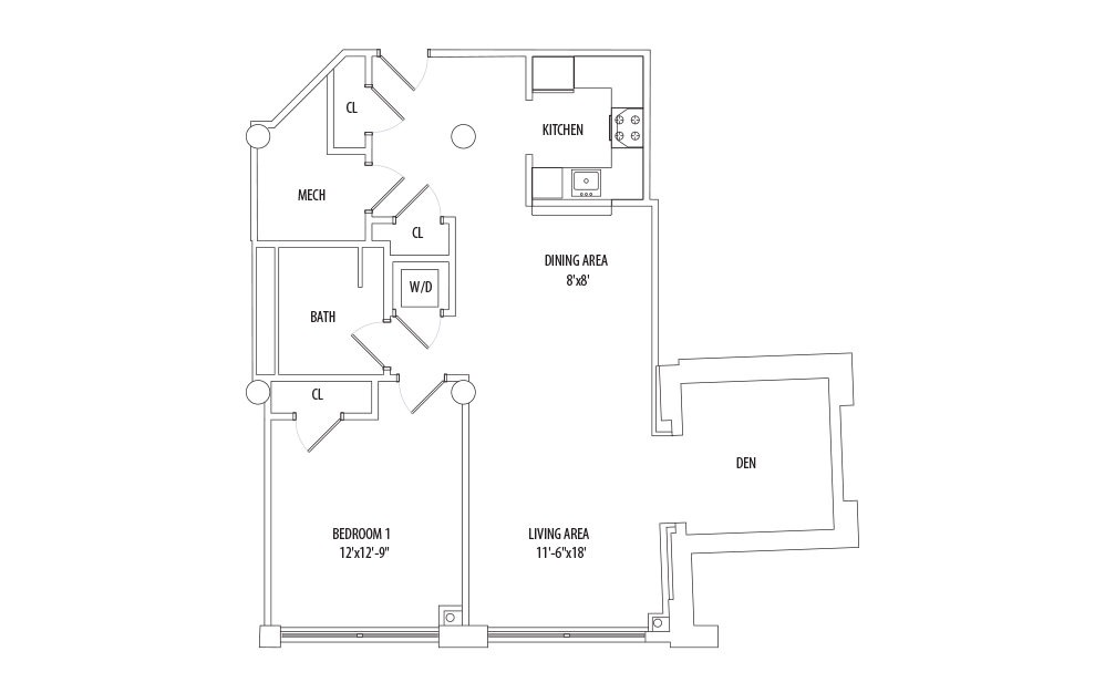 1 Bedroom w/ Den - 1 bedroom floorplan layout with 1 bath and 880 square feet (1st floor 2D)