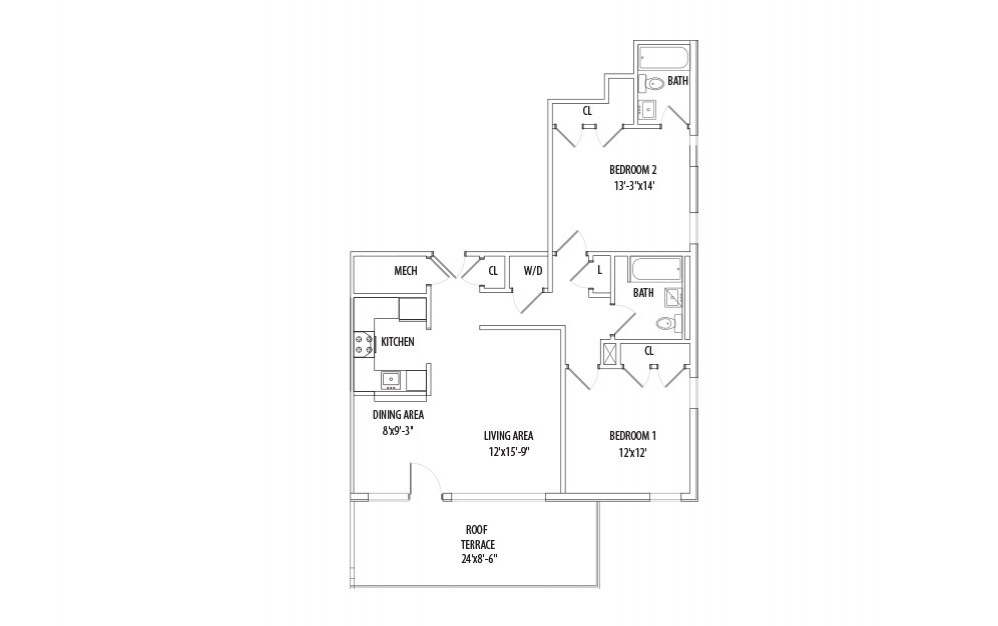 Penthouse w/ Private Patio - 2 bedroom floorplan layout with 2 bath and 958 square feet (1st floor 2D)