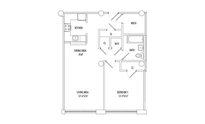 1 Bedroom - 1 bedroom floorplan layout with 1 bath and 783 square feet