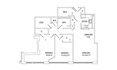 2 Bedroom w/ Den - 2 bedroom floorplan layout with 1 bath and 1278 square feet