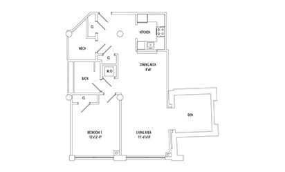 1 Bedroom w/ Den - 1 bedroom floorplan layout with 1 bath and 880 square feet