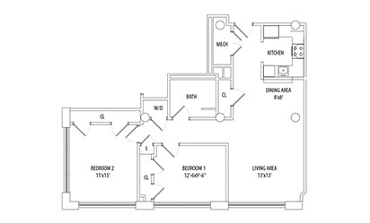 2 Bedroom - 2 bedroom floorplan layout with 1 bath and 919 square feet