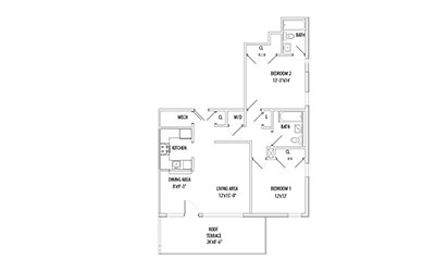Penthouse w/ Private Patio - 2 bedroom floorplan layout with 2 bath and 958 square feet